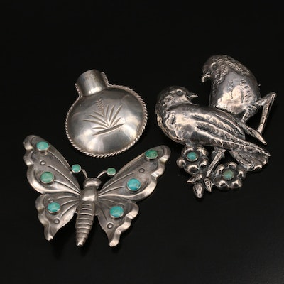 Mexican Hand Stamped Sterling Turquoise Brooches Including Birds and Butterfly