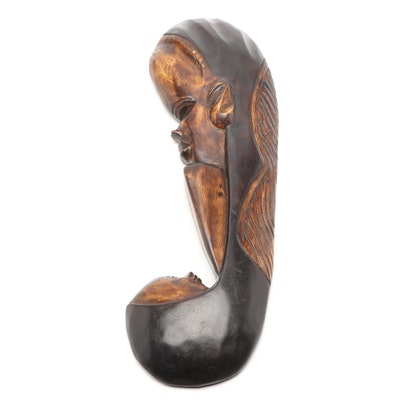 Ghanaian Carved Wood Wall Hanging of Mother and Child