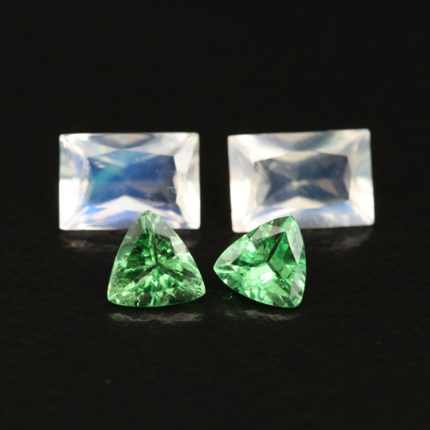 Loose 1.50 CTW Tsavorite Garnets and Rainbow Moonstones