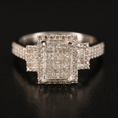 14K Diamond Stepped Ring