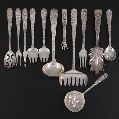 """S. Kirk & Son """"Repousse"""" Sterling Silver Utensils with Alvin Ice Cream Forks"""