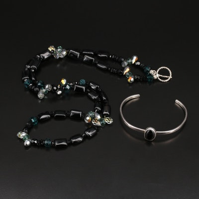 Sterling Black Onyx and Glass Necklace and Cuff