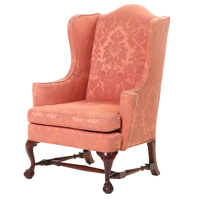 Hickory Chair Co. Chippendale Style Mahogany and Damask Wingback Armchair