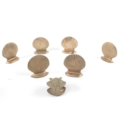 Price and Other Brass Standing Scallop Shell Figurines