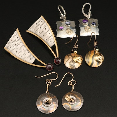 Poquette Designs Sterling and 14K Earrings Including Iolite and Amethyst