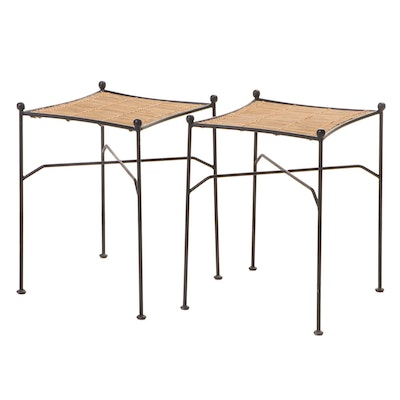 Pair of Modernist Style Iron and Bamboo Side Tables, Manner of Paul McCobb