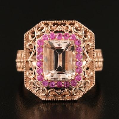 14K Rose Gold Octagonal Morganite and Sapphire Ring