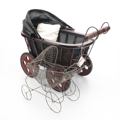 Ashley Belle Wooden and Wire Decorative Baby Carriages
