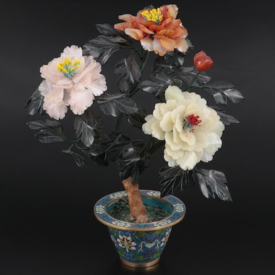 Chinese Carved Rose Quartz, Agate and Serpentine Tree Peony in Cloisonné Pot