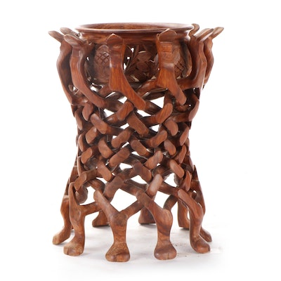 Carved Wood Bowl with Interlocking Puzzle Camel Stand