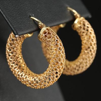 Italian 14K Mesh Hoop Earrings