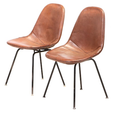 """Two Charles and Ray Eames for Herman Miller """"DKX"""" Steel and Leather Chairs"""