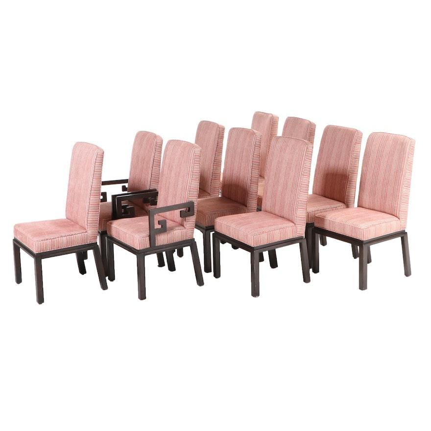 Ten Baker Furniture Chinese Style Custom-Upholstered Hardwood Dining Chairs