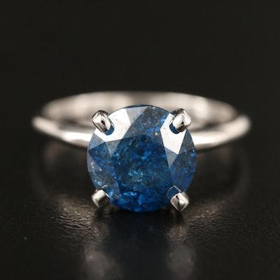 14K 3.42 CT Fancy Blue Diamond Solitaire Ring