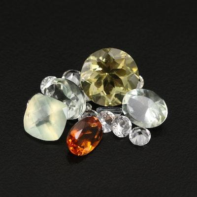 Loose 14.64 CTW Citrine, Prasiolite, Prehnite and Additional Gemstones