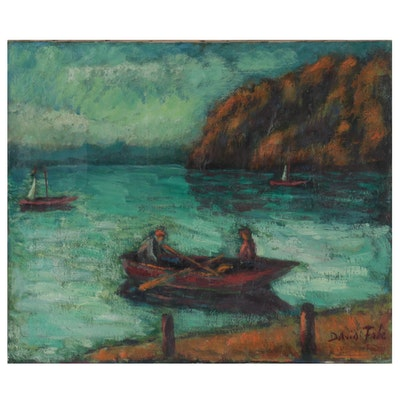 David Fabe Coastal Oil Painting, Mid-20th Century