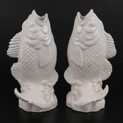 Pair of Japanese Ceramic Jumping Koi Fish Vases, Early 20th Century