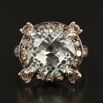 Sterling Silver Prasiolite and Smoky Quartz Ring