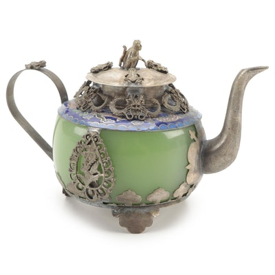 Chinese Tibetan Silver Mounted Glass and Cloisonné Teapot