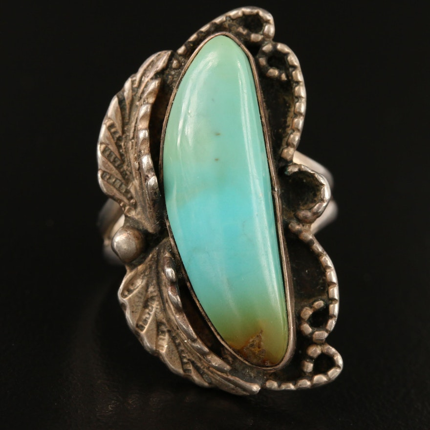 Signed Southwestern Sterling Silver Turquoise Ring with Appliqué