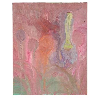 Laura Allgood Landscape Mixed Media Painting, Circa 2000