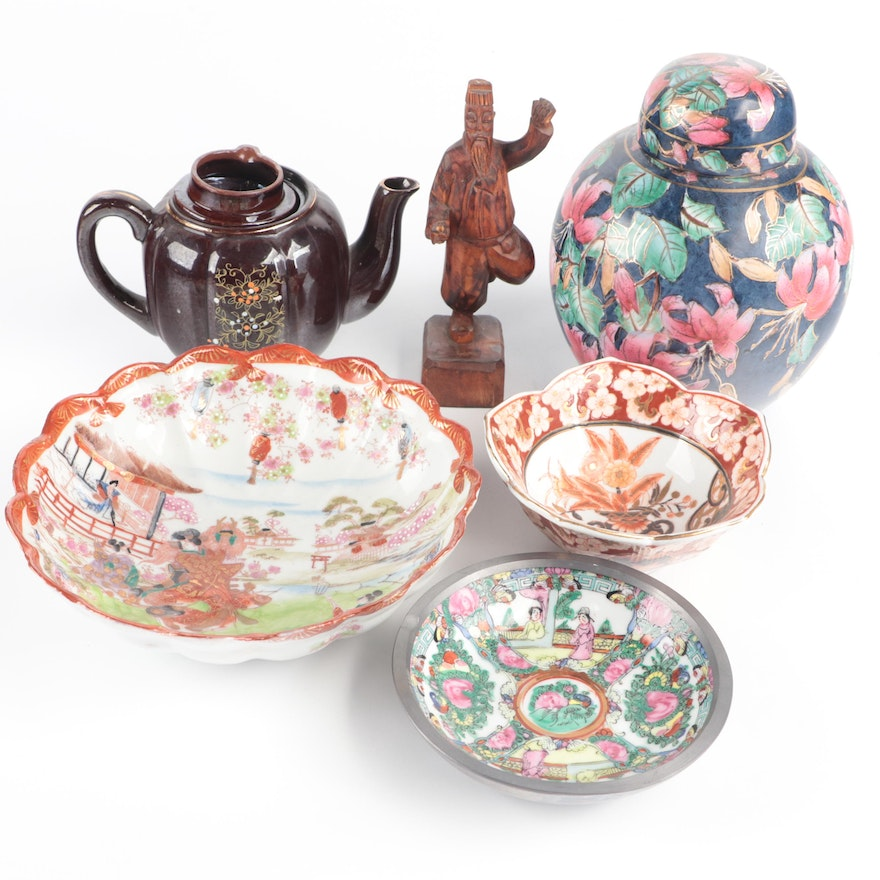 Chinese and Japanese Porcelain and Ceramic Tableware with Carved Wood Figure