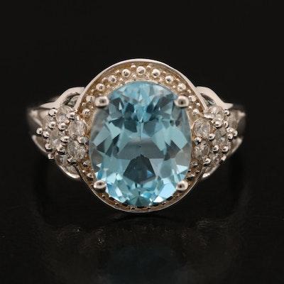 Sterling Sky Blue Topaz And White Zircon Ring