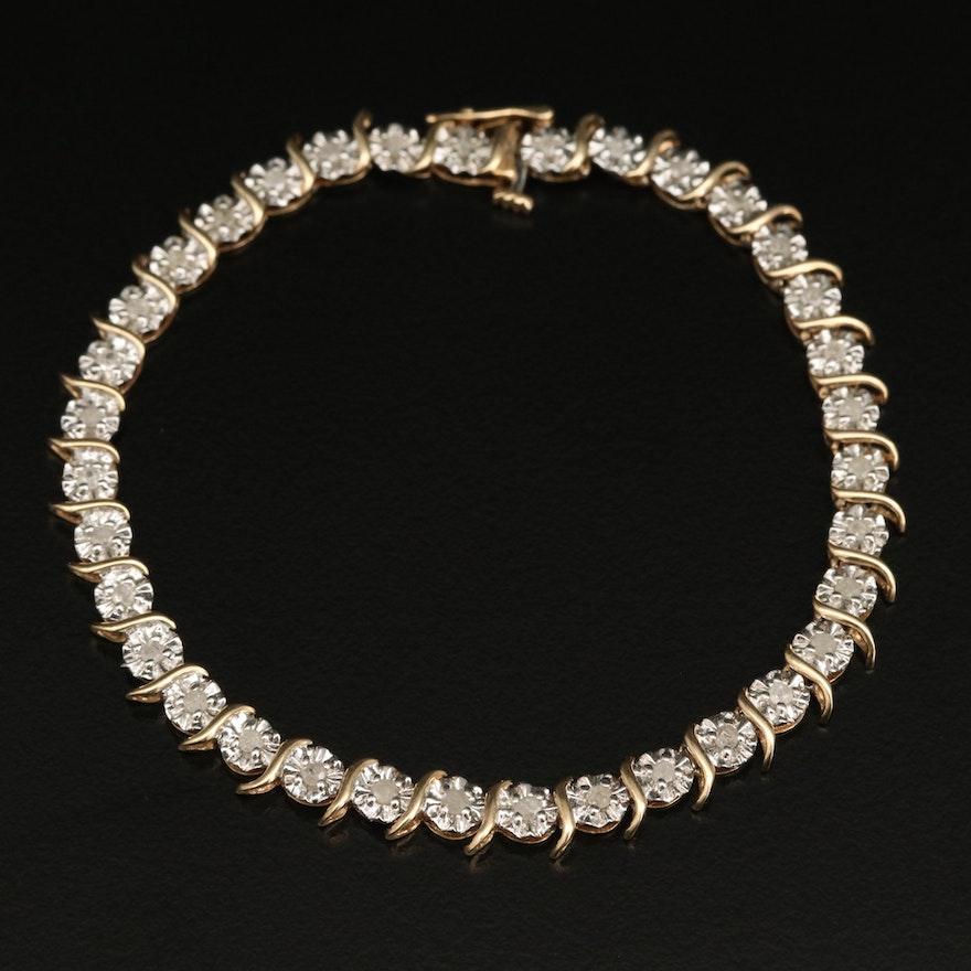10K Diamond S-Link Bracelet