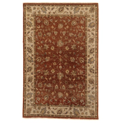 6' x 9'3 Hand-Knotted Indian Floral Area Rug
