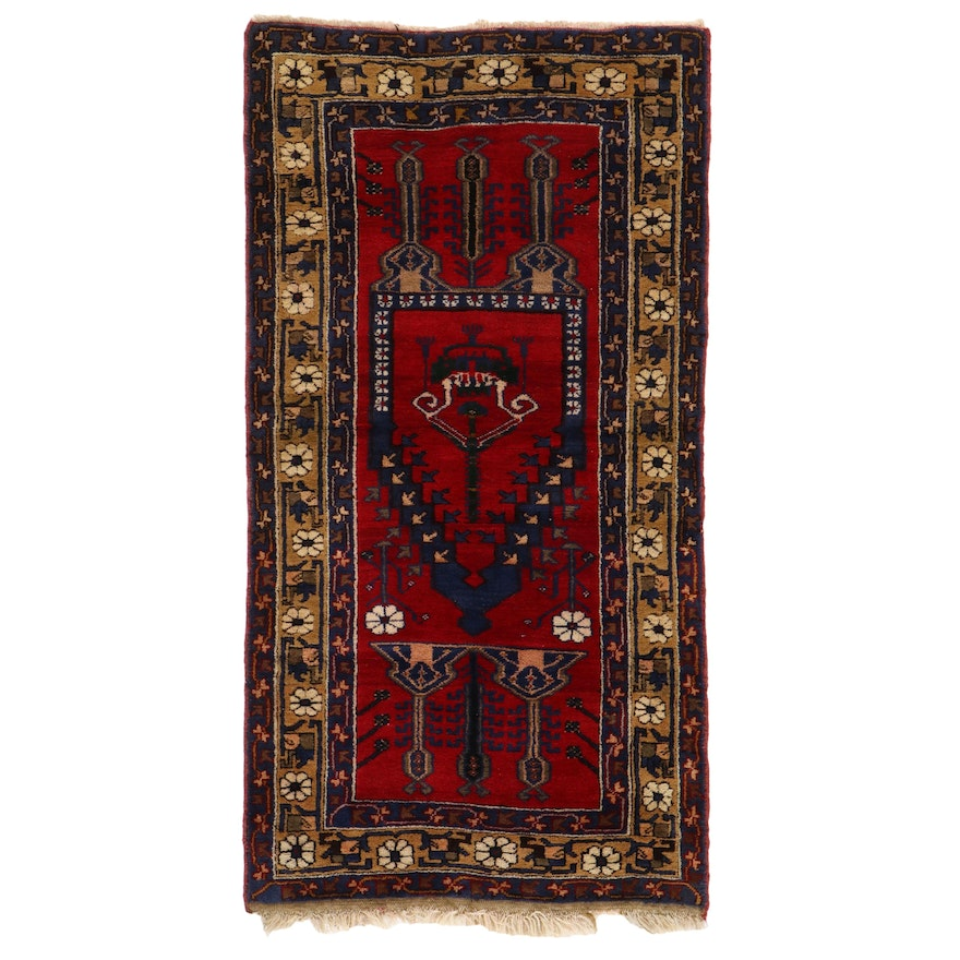 3'2 x 6'3 Hand-Knotted Mihrab Prayer Rug