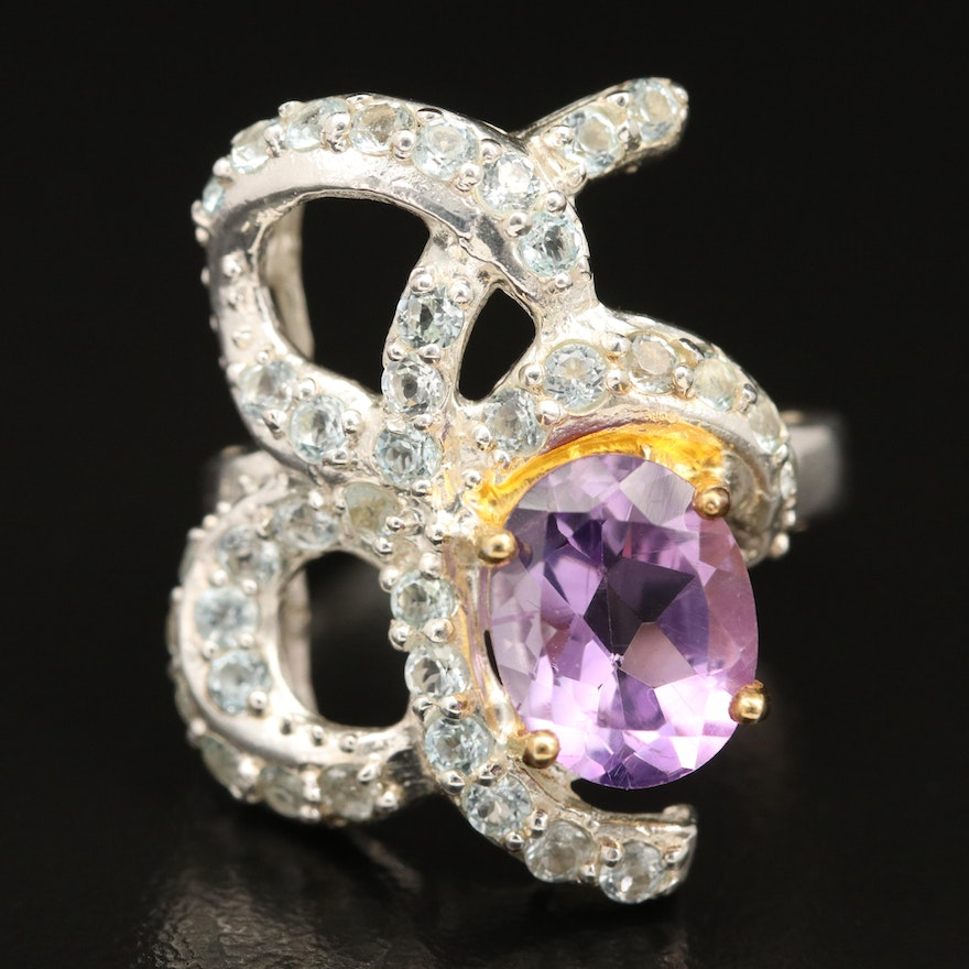 Sterling Silver Amethyst and Topaz Ring