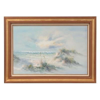 Idyllic Coastal Landscape Oil Painting