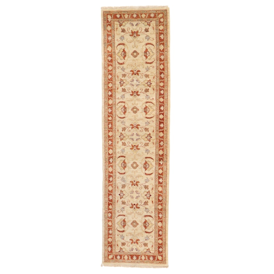 2'6 x 9'10 Hand-Knotted Floral Carpet Runner