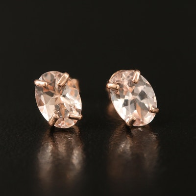 14K Rose Gold Morganite Stud Earrings