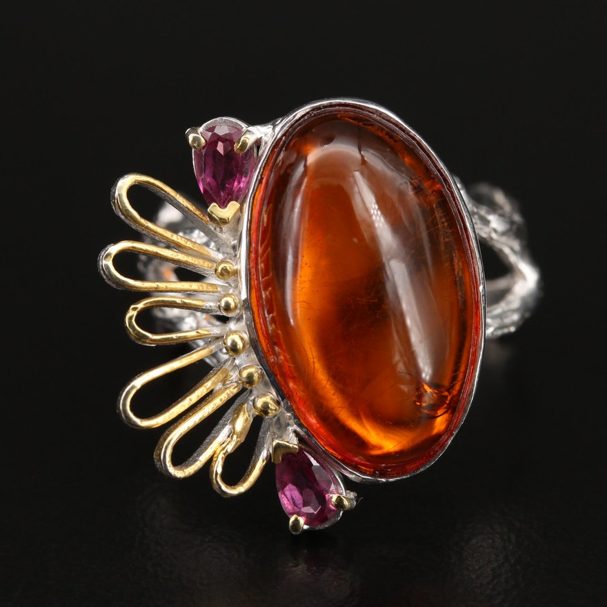 Sterling Amber and Garnet Biomorphic Ring