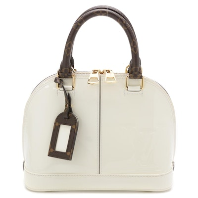 Louis Vuitton Limited Edition Alma BB Bag in Snow Vernis and Monogram Canvas