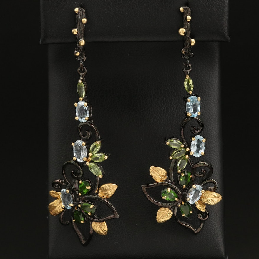 Sterling Silver Sky Blue Topaz, Peridot and Diopside Earrings