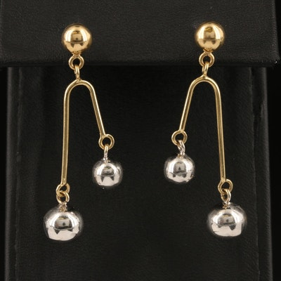 14K Asymmetrical Sphere Drop Earrings