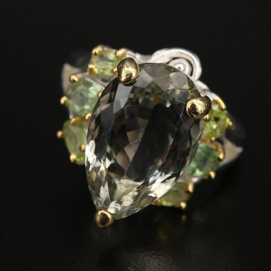Sterling Prasiolite, Peridot and Gemstone Ring