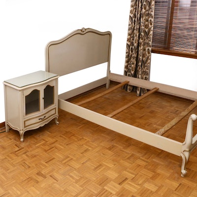 """Drexel """"Touraine"""" Cream and Parcel-Gilt Full Size Bed Frame and Nightstand"""