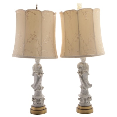 Blanc de Chine Guanyin Figurine Lamps with Silk Embroidered Shades