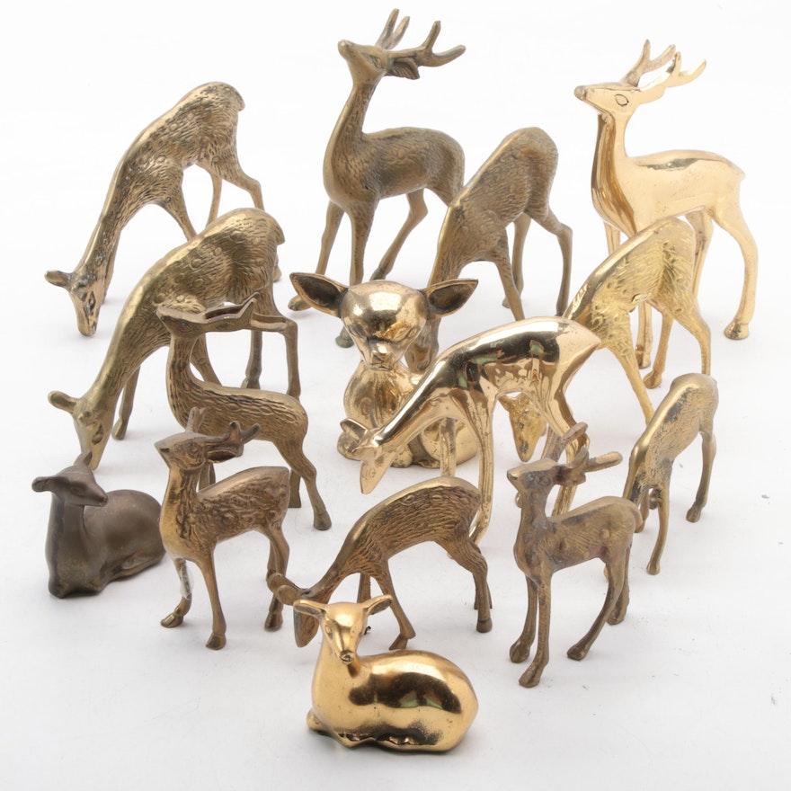 Brass Deer Figurines