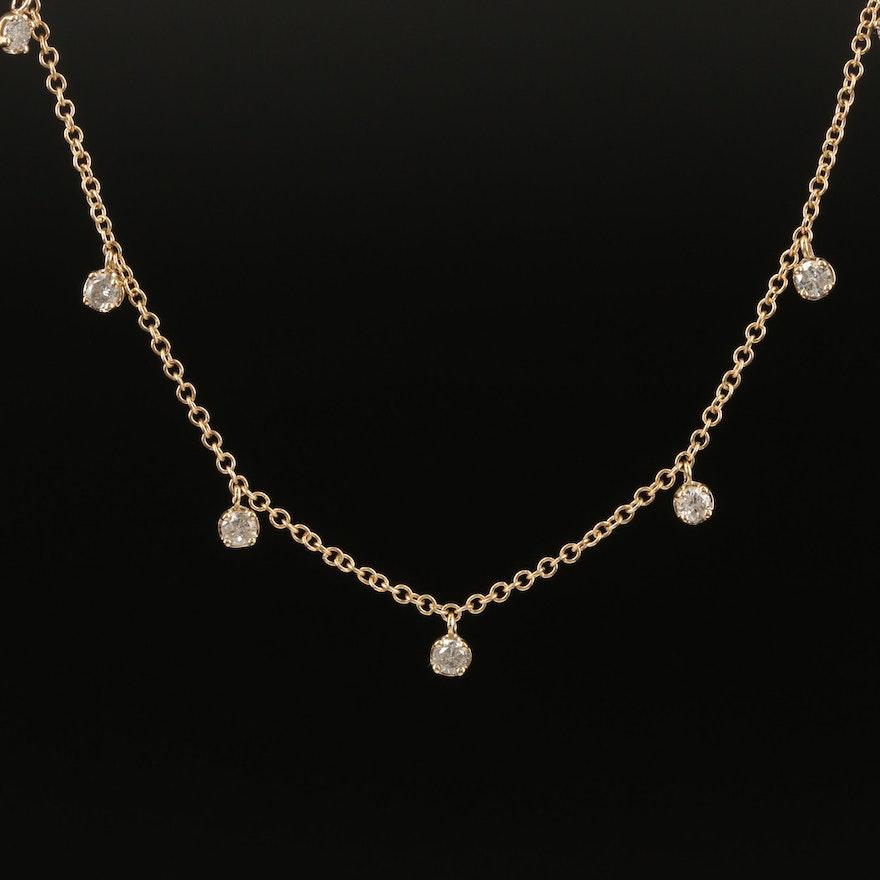 14K 1.20 CTW Diamond Fringe Necklace