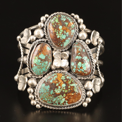 Southwestern Sterling Wide Cuff with Turquoise in Matrix and Flower Accents