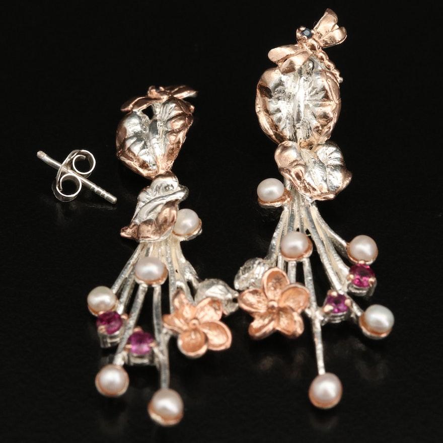 Sterling Silver Pearl and Garnet Earrings