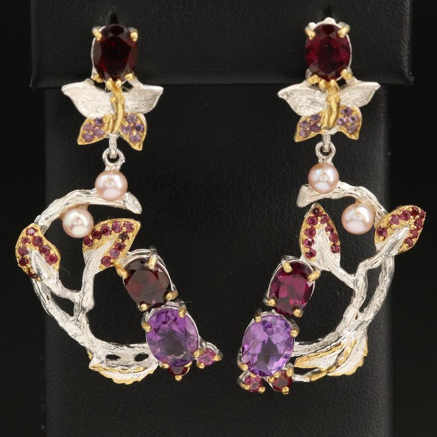 Sterling Silver Amethyst, Garnet and Pearl Biomorphic Earrings