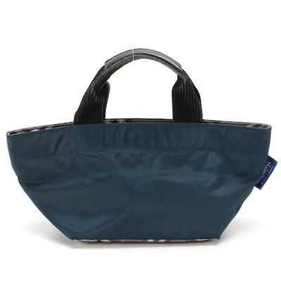 """Burberrys Blue Label Mini Tote in Blue Nylon with Grey """"Nova Check"""" Trim"""