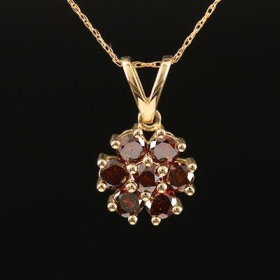 14K Diamond Cluster Pendant Necklace