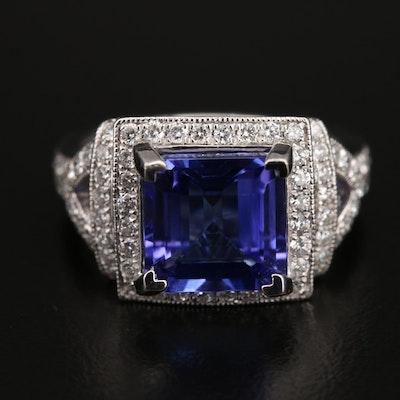 Platinum 4.10 CT Tanzanite and Diamond Ring