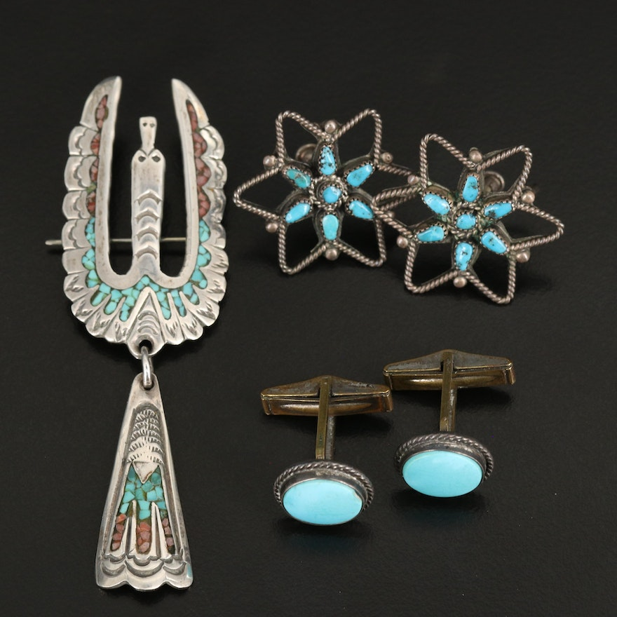 Southwestern Sterling Jewelry Including Turquoise and Stone